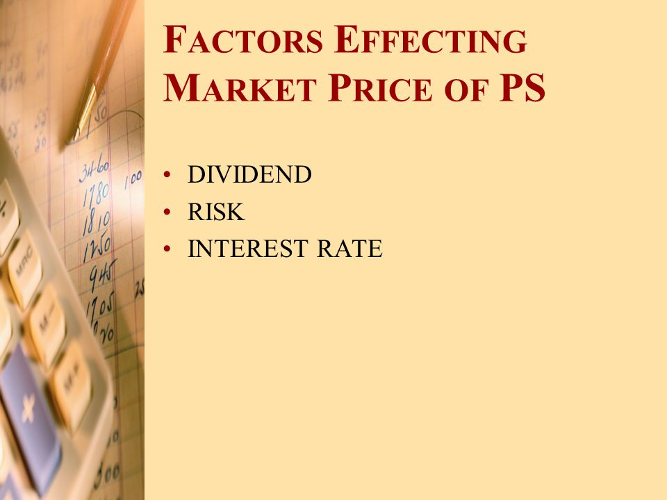 F ACTORS E FFECTING M ARKET P RICE OF PS DIVIDEND RISK INTEREST RATE