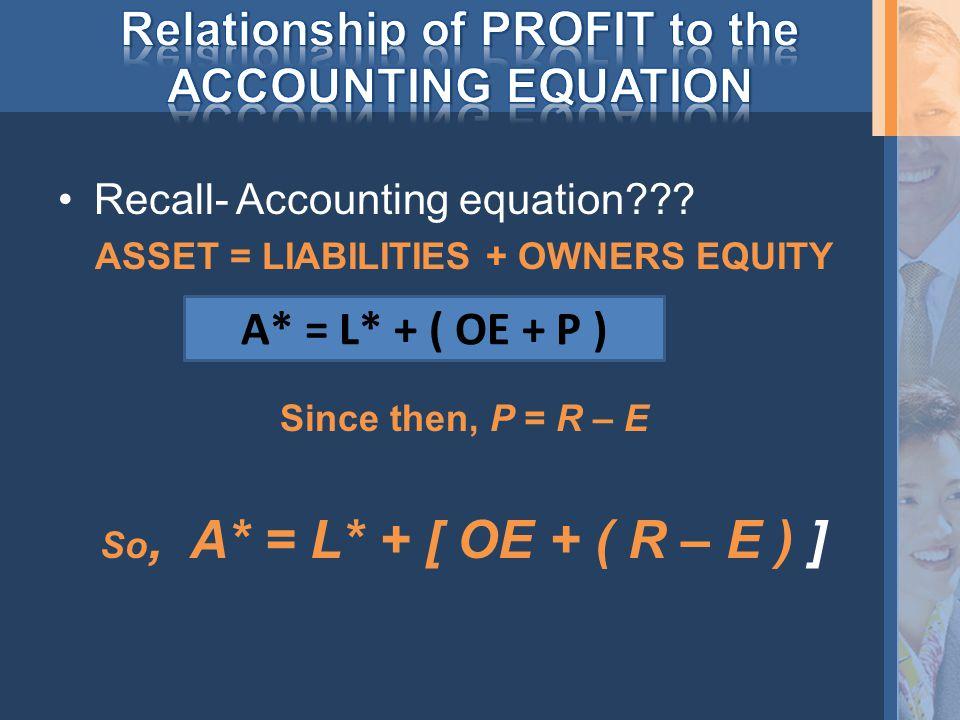 Recall- Accounting equation .