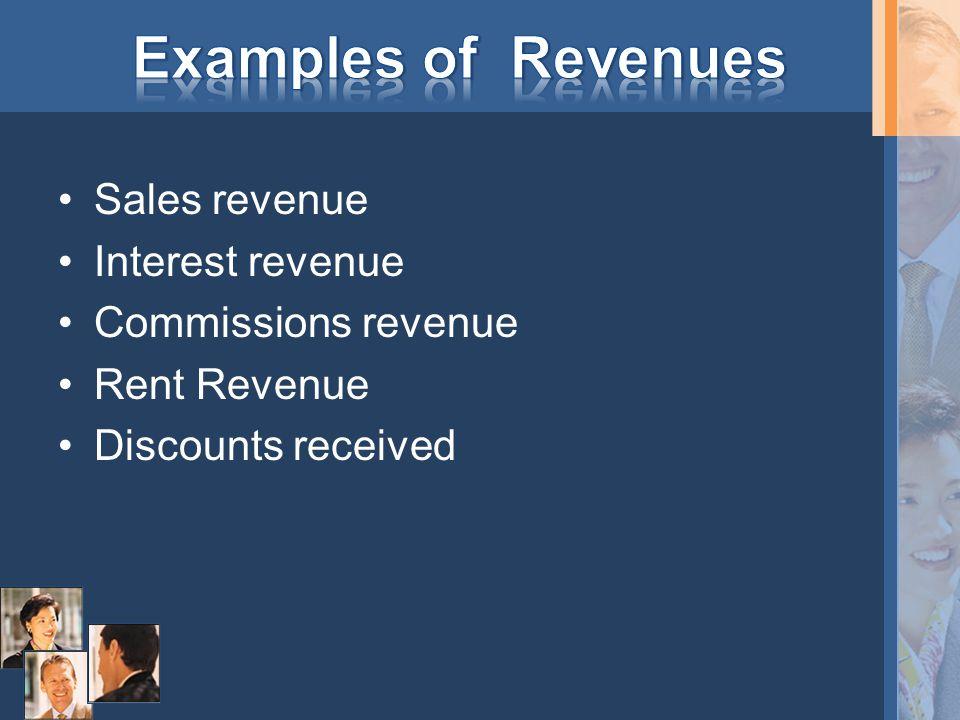 Sales revenue Interest revenue Commissions revenue Rent Revenue Discounts received