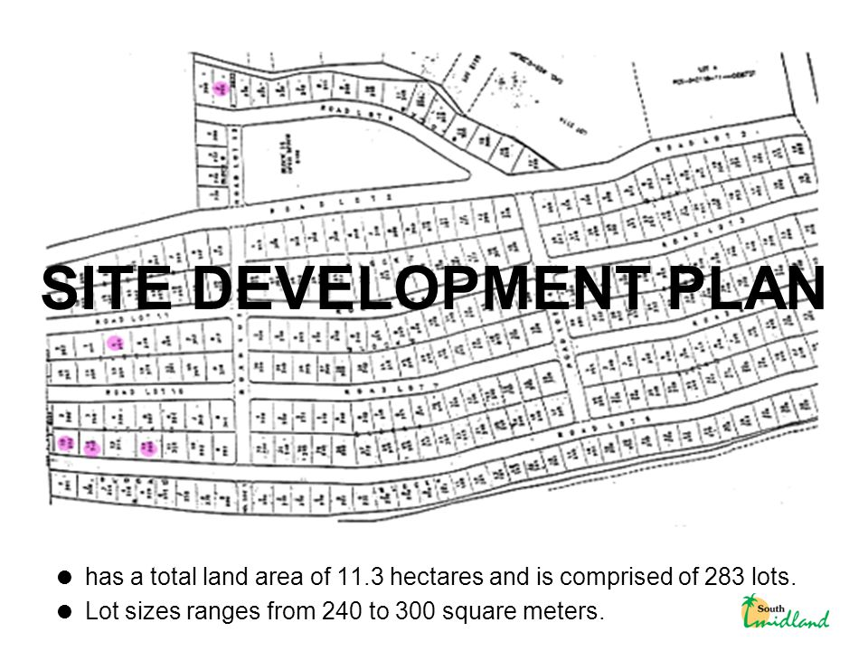  has a total land area of 11.3 hectares and is comprised of 283 lots.