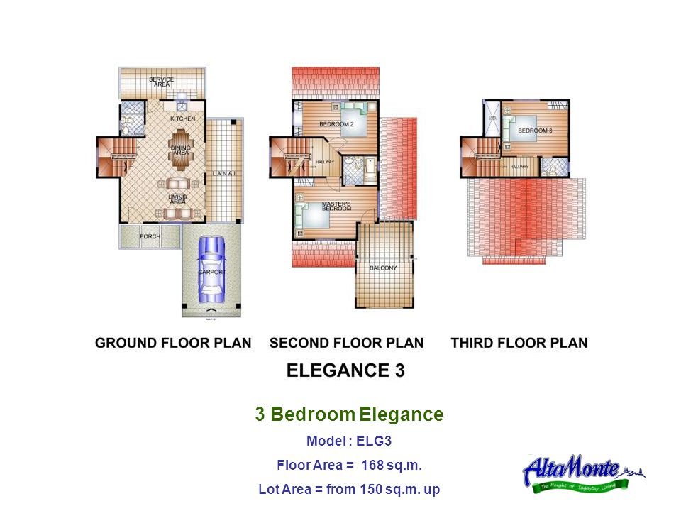 3 Bedroom Elegance Model : ELG3 Floor Area = 168 sq.m. Lot Area = from 150 sq.m. up