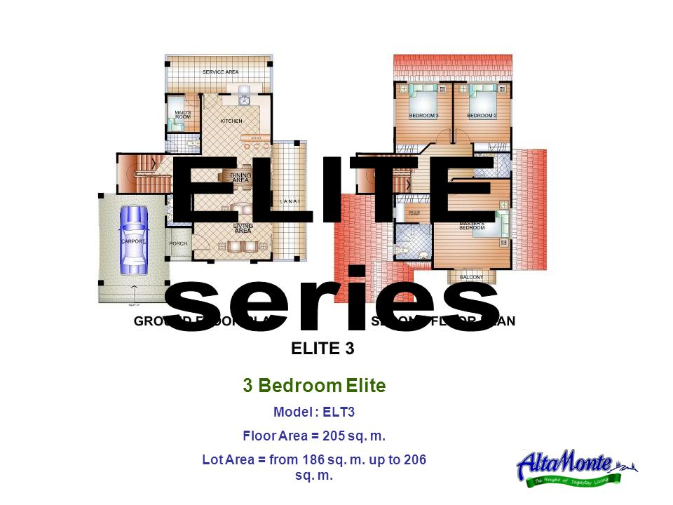 3 Bedroom Elite Model : ELT3 Floor Area = 205 sq. m. Lot Area = from 186 sq. m. up to 206 sq. m.