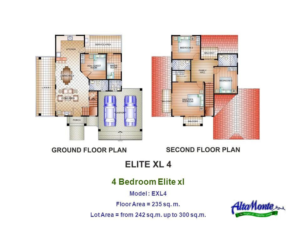 4 Bedroom Elite xl Model : EXL4 Floor Area = 235 sq. m. Lot Area = from 242 sq.m. up to 300 sq.m.