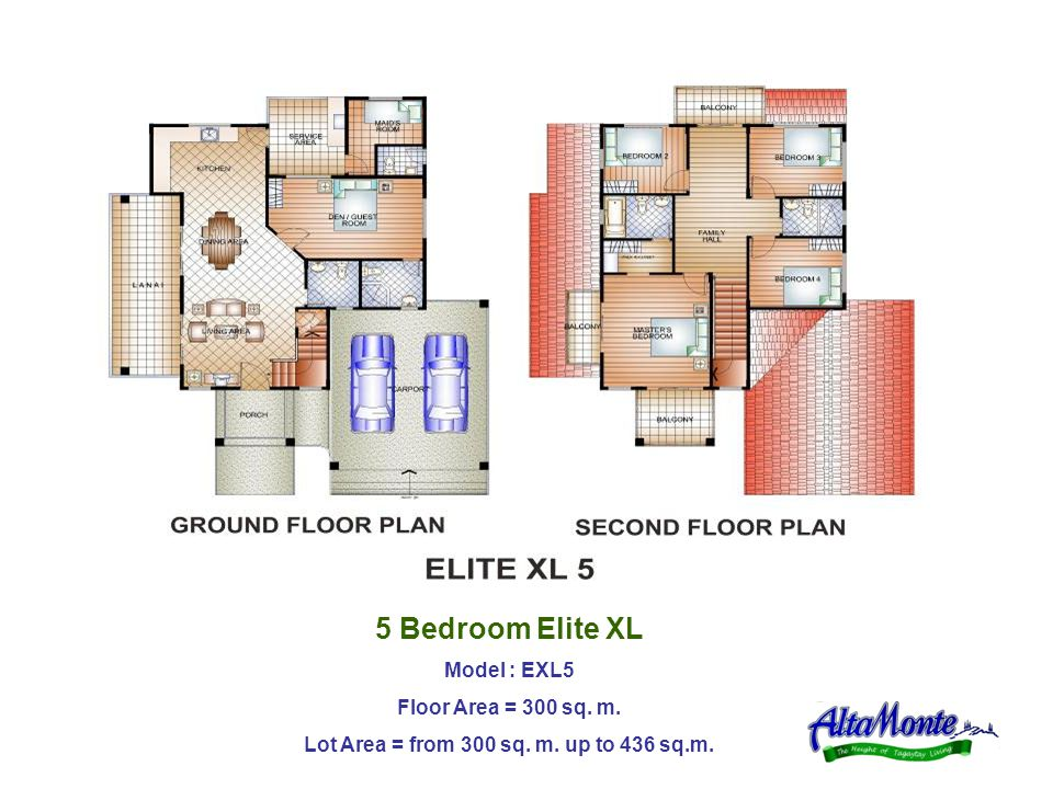 5 Bedroom Elite XL Model : EXL5 Floor Area = 300 sq. m. Lot Area = from 300 sq. m. up to 436 sq.m.