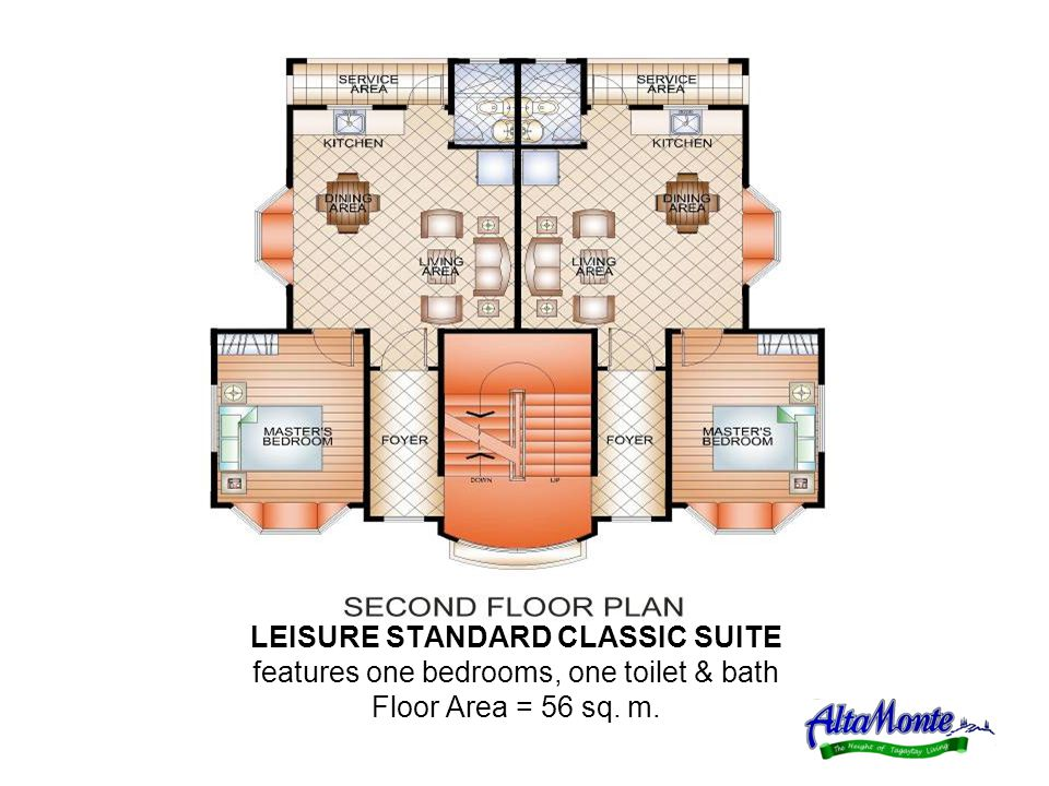 LEISURE STANDARD CLASSIC SUITE features one bedrooms, one toilet & bath Floor Area = 56 sq. m.