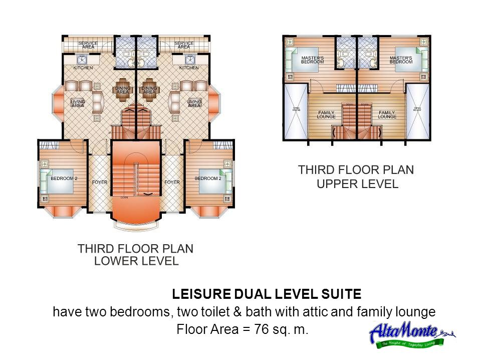 LEISURE DUAL LEVEL SUITE have two bedrooms, two toilet & bath with attic and family lounge Floor Area = 76 sq.