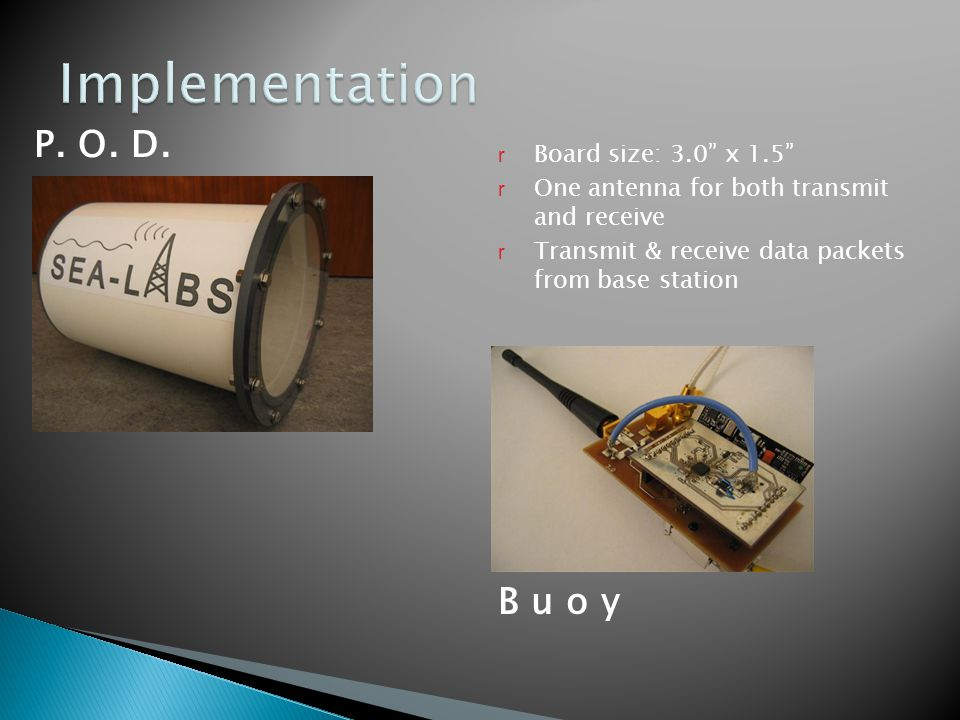 "P. O. D. r Board size: 3.0"" x 1.5"" r One antenna for both transmit and receive r Transmit & receive data packets from base station B u o y"