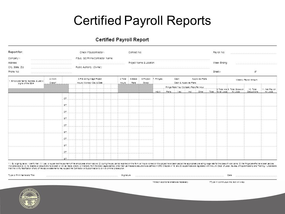 Certified Payroll Reports Certified Payroll Report Report for: Check if Subcontractor 1) Contract No:Payroll No: Company: 1) If Sub, GC/Prime Contractor Name: Address: Project Name & Location:Week Ending: City, State, Zip Public Authority (Owner): Phone No: Sheet: 2) of 1.