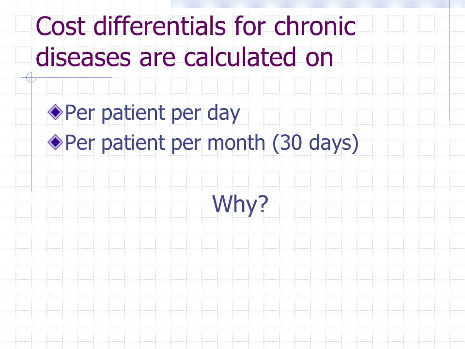Cost differentials for chronic diseases are calculated on Per patient per day Per patient per month (30 days) Why?