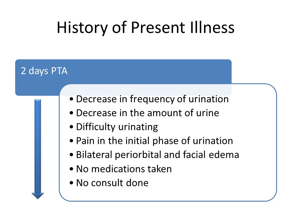 History of Present Illness 2 days PTA Decrease in frequency of urination Decrease in the amount of urine Difficulty urinating Pain in the initial phase of urination Bilateral periorbital and facial edema No medications taken No consult done