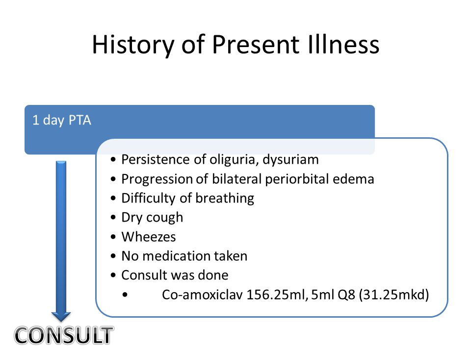 History of Present Illness 1 day PTA Persistence of oliguria, dysuriam Progression of bilateral periorbital edema Difficulty of breathing Dry cough Wheezes No medication taken Consult was done Co-amoxiclav 156.25ml, 5ml Q8 (31.25mkd)