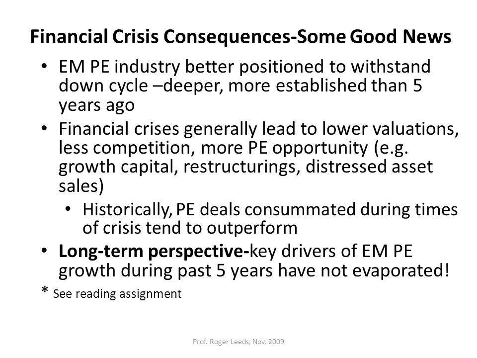 Financial Crisis Consequences-Some Good News EM PE industry better positioned to withstand down cycle –deeper, more established than 5 years ago Financial crises generally lead to lower valuations, less competition, more PE opportunity (e.g.