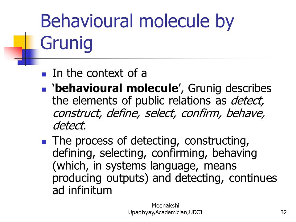Behavioural molecule by Grunig In the context of a 'behavioural molecule', Grunig describes the elements of public relations as detect, construct, define, select, confirm, behave, detect.