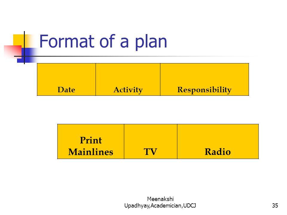 Format of a plan DateActivityResponsibility Print MainlinesTVRadio 35 Meenakshi Upadhyay,Academician,UDCJ