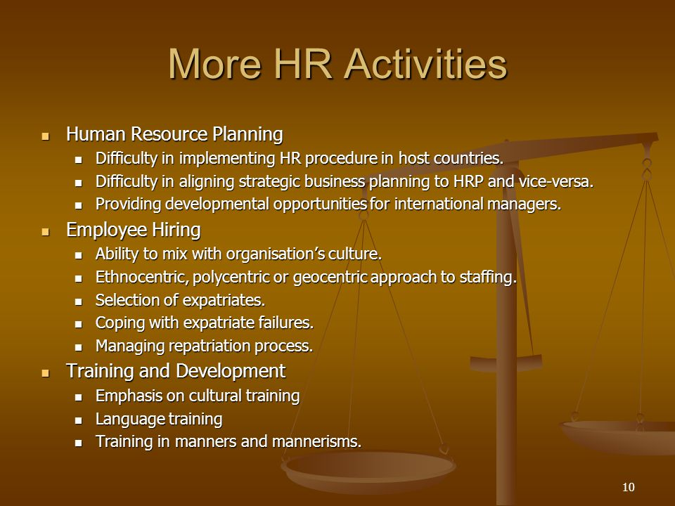 10 More HR Activities Human Resource Planning Human Resource Planning Difficulty in implementing HR procedure in host countries.