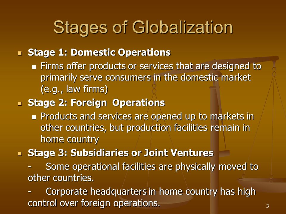 Stages of Globalization Stage 1: Domestic Operations Stage 1: Domestic Operations Firms offer products or services that are designed to primarily serv