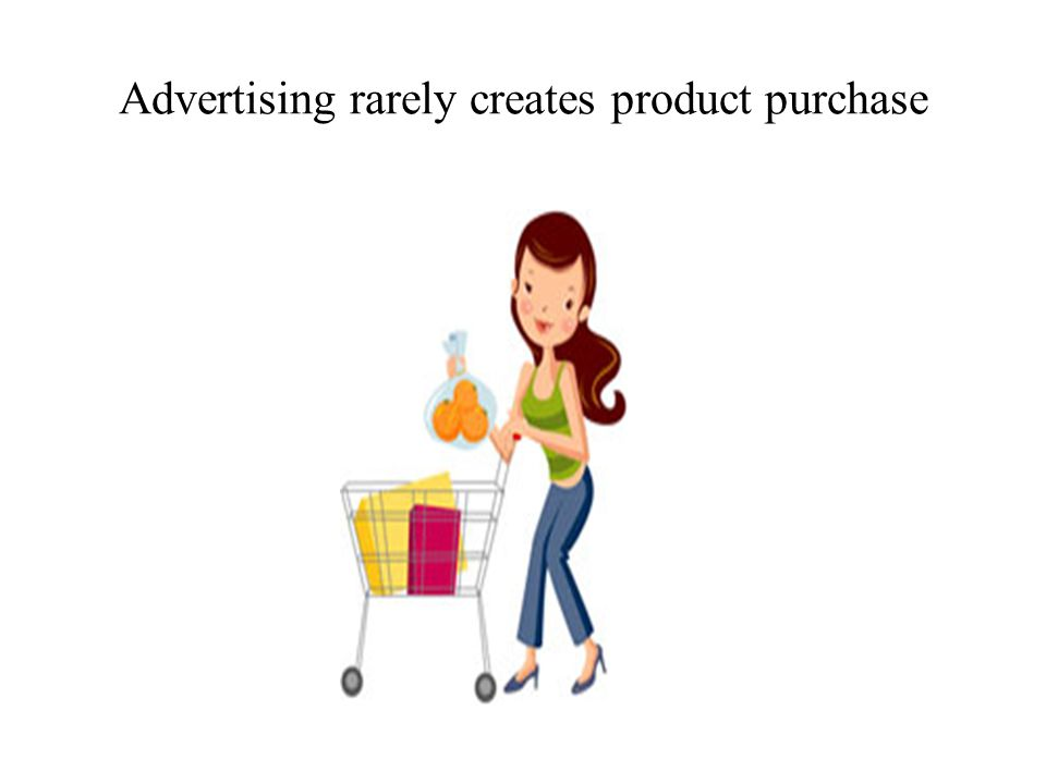 Advertising rarely creates product purchase