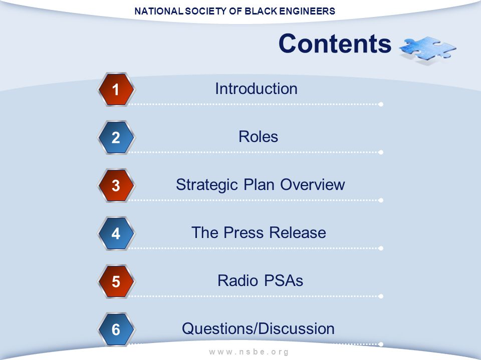 NATIONAL SOCIETY OF BLACK ENGINEERS w w w. n s b e. o r g Contents Introduction 1 Roles 2 Strategic Plan Overview 3 The Press Release 4 Radio PSAs 5 Q