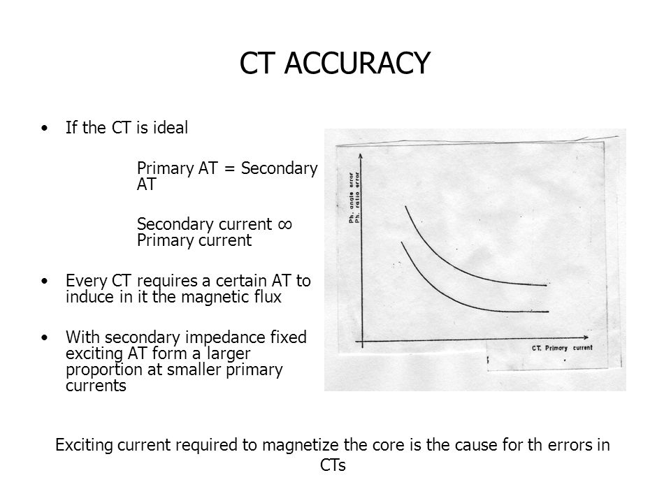 CT ACCURACY If the CT is ideal Primary AT = Secondary AT Secondary current ∞ Primary current Every CT requires a certain AT to induce in it the magnetic flux With secondary impedance fixed exciting AT form a larger proportion at smaller primary currents Exciting current required to magnetize the core is the cause for th errors in CTs