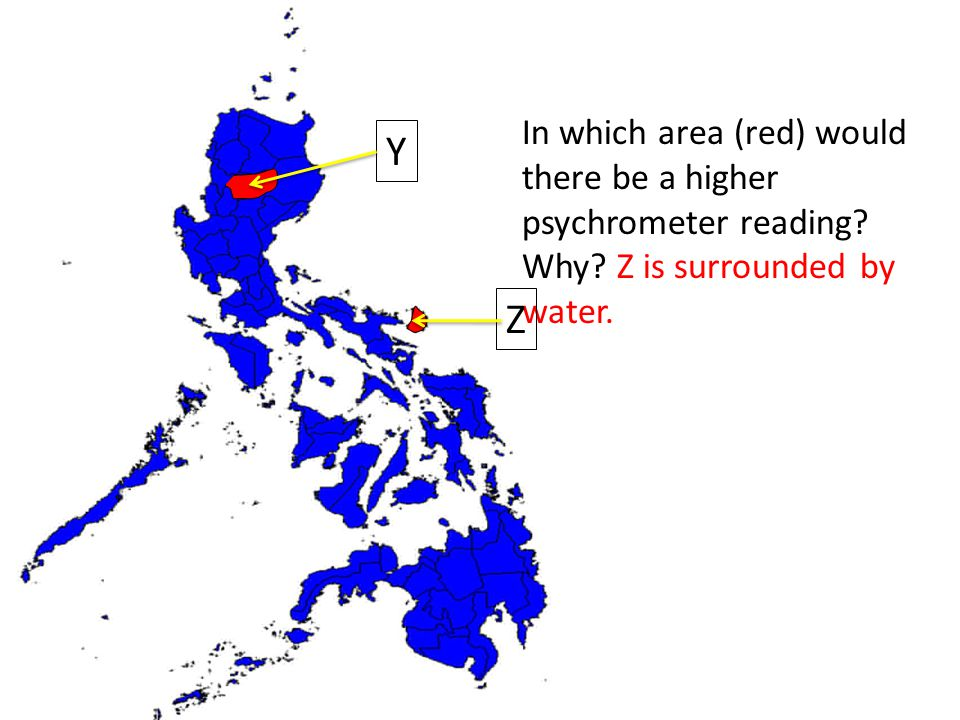 Which In which area (red) would there be a higher psychrometer reading.