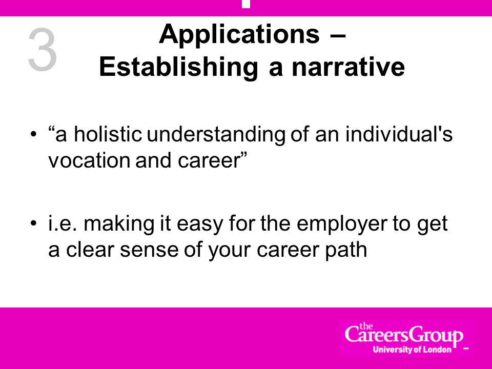 3 Applications – Establishing a narrative a holistic understanding of an individual s vocation and career i.e.