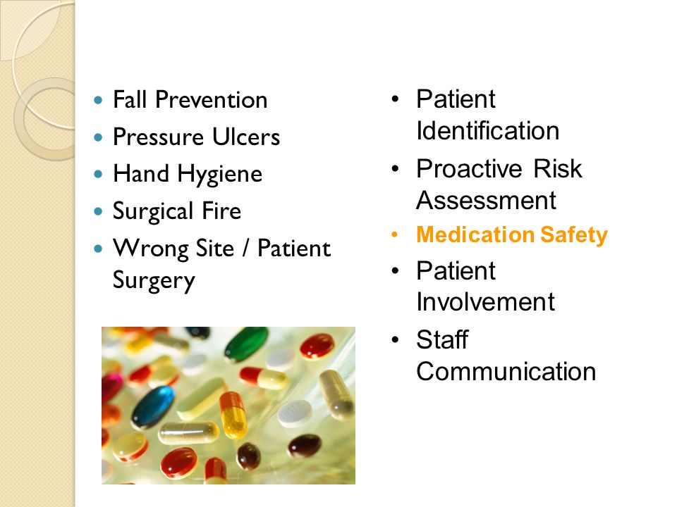 Fall Prevention Pressure Ulcers Hand Hygiene Surgical Fire Wrong Site / Patient Surgery Patient Identification Proactive Risk Assessment Medication Safety Patient Involvement Staff Communication