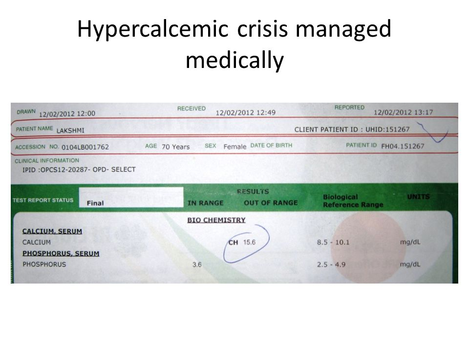 Hypercalcemic crisis managed medically