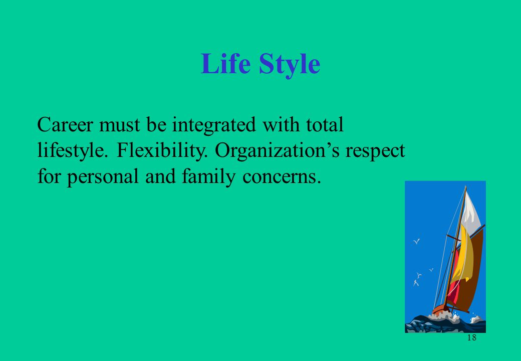 18 Life Style Career must be integrated with total lifestyle. Flexibility. Organization's respect for personal and family concerns.