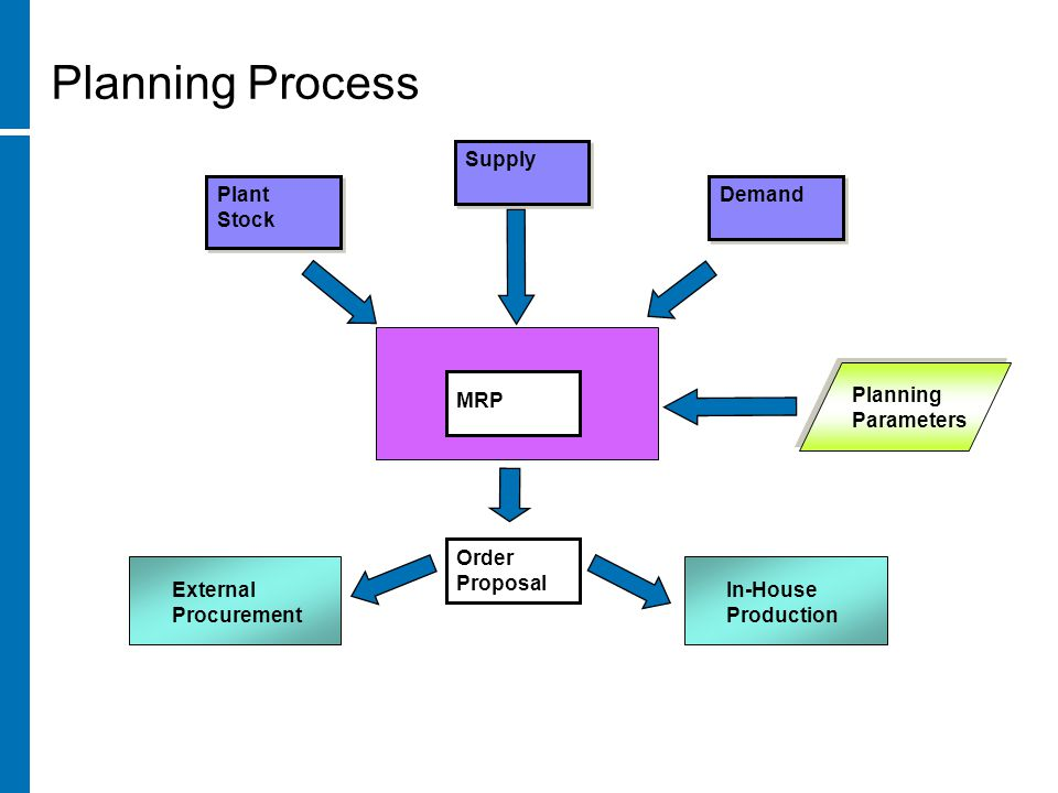 Planning Process Plant Stock Plant Stock MRP Order Proposal External Procurement In-House Production Supply Demand Planning Parameters