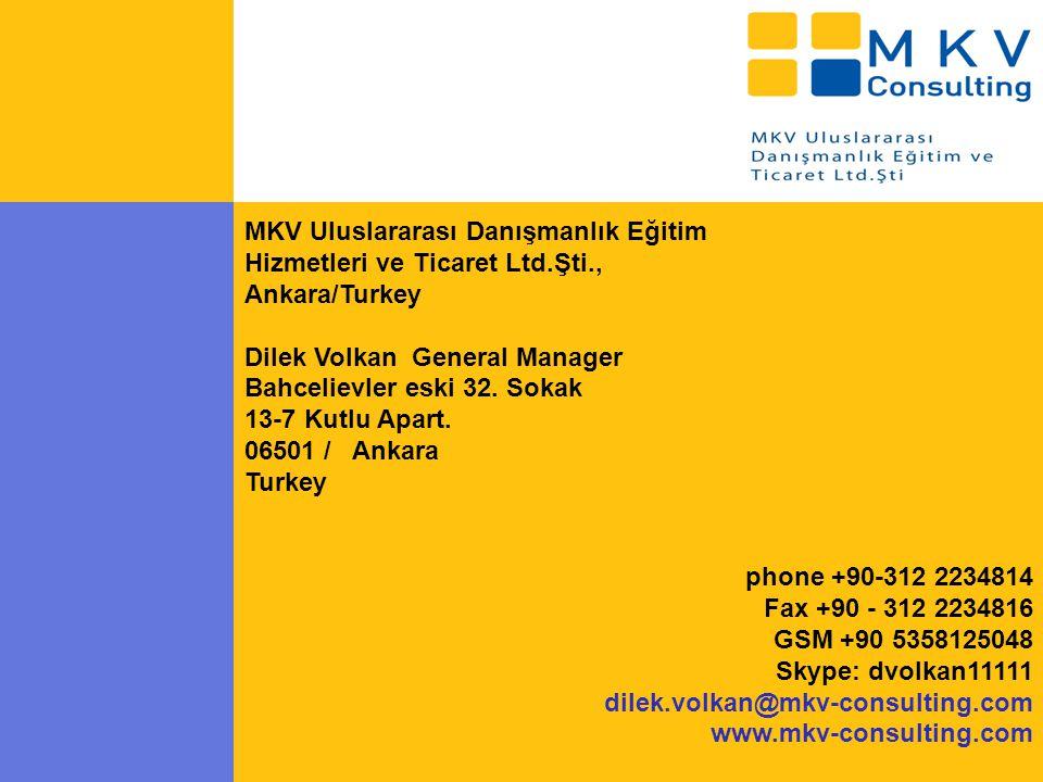 MKV Uluslararası Danışmanlık Eğitim Hizmetleri ve Ticaret Ltd.Şti., Ankara/Turkey Dilek Volkan General Manager Bahcelievler eski 32.