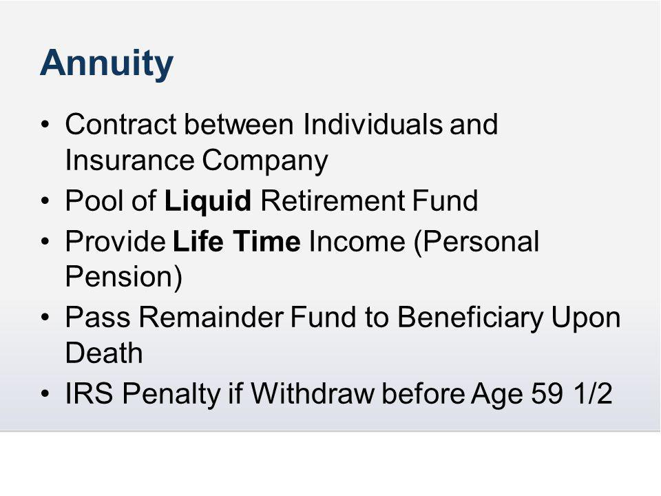 Annuity Contract between Individuals and Insurance Company Pool of Liquid Retirement Fund Provide Life Time Income (Personal Pension) Pass Remainder Fund to Beneficiary Upon Death IRS Penalty if Withdraw before Age 59 1/2