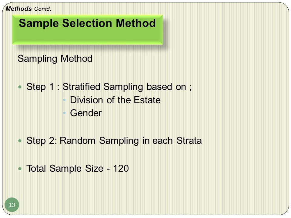 Sample Selection Method 13 Sampling Method Step 1 : Stratified Sampling based on ; Division of the Estate Gender Step 2: Random Sampling in each Strata Total Sample Size - 120 Methods Contd.