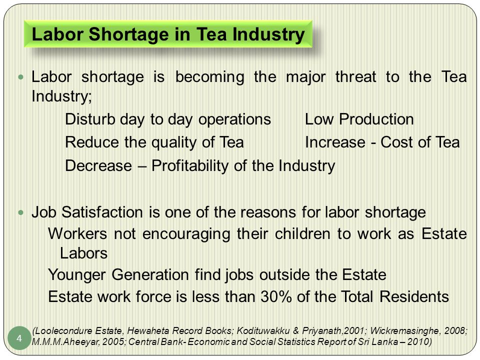 4 Labor shortage is becoming the major threat to the Tea Industry; Disturb day to day operationsLow Production Reduce the quality of TeaIncrease - Cos