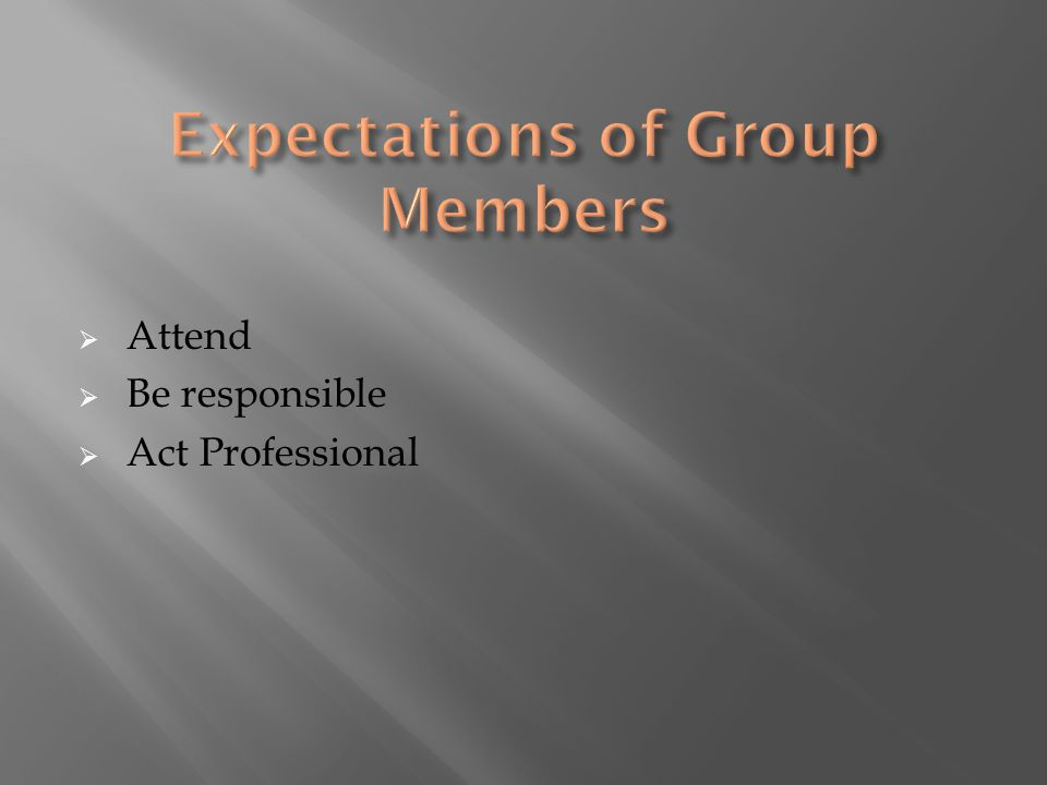  Attend  Be responsible  Act Professional
