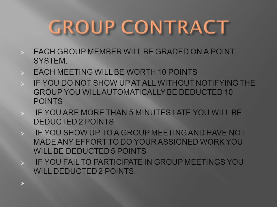  EACH GROUP MEMBER WILL BE GRADED ON A POINT SYSTEM.