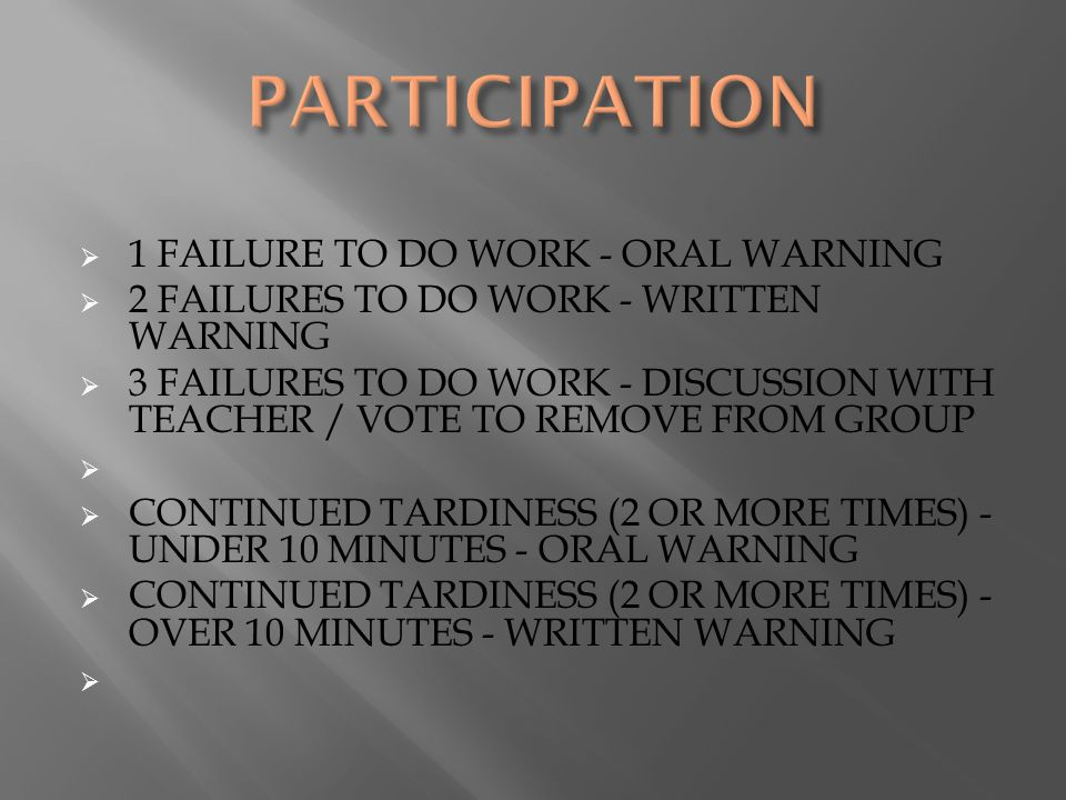  1 FAILURE TO DO WORK - ORAL WARNING  2 FAILURES TO DO WORK - WRITTEN WARNING  3 FAILURES TO DO WORK - DISCUSSION WITH TEACHER / VOTE TO REMOVE FROM GROUP   CONTINUED TARDINESS (2 OR MORE TIMES) - UNDER 10 MINUTES - ORAL WARNING  CONTINUED TARDINESS (2 OR MORE TIMES) - OVER 10 MINUTES - WRITTEN WARNING 
