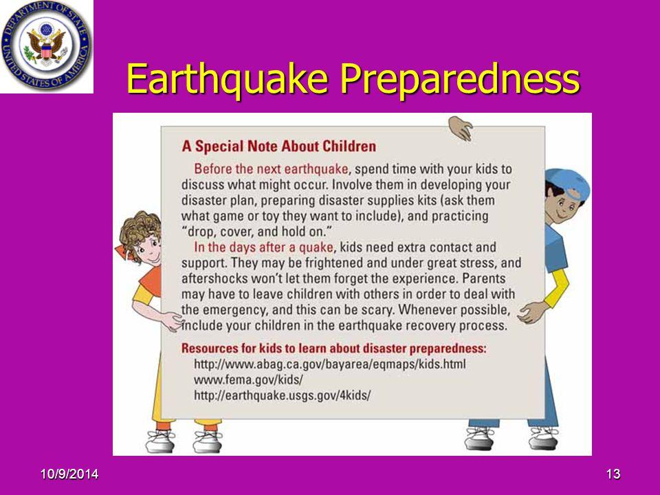 10/9/201413 Earthquake Preparedness