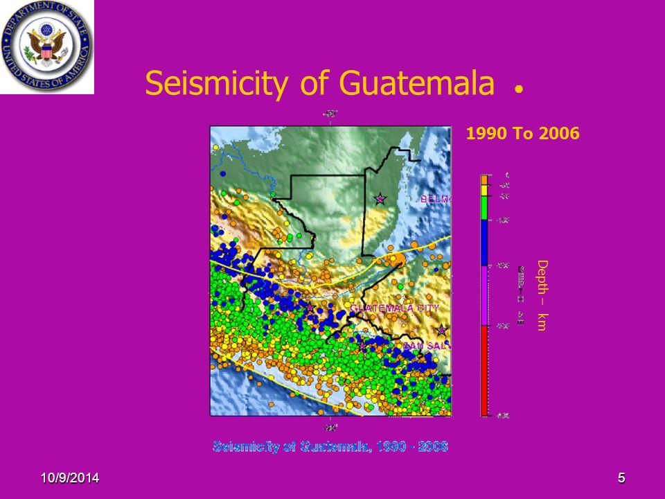 10/9/20145 Seismicity of Guatemala ● Depth – km 1990 To 2006