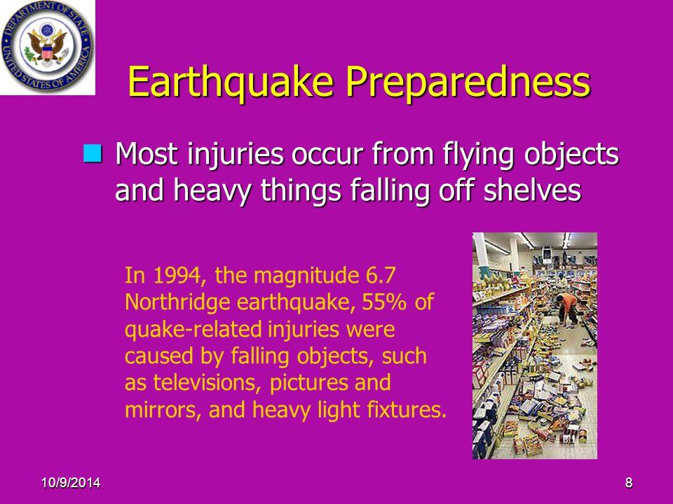 10/9/201429 Earthquake Preparedness: Personal Disaster Kits (Cont.) Personal Disaster Kits should include: Personal Disaster Kits should include: 21.