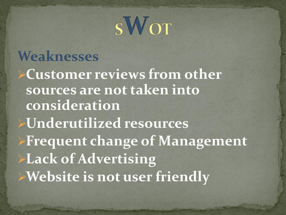 Weaknesses  Customer reviews from other sources are not taken into consideration  Underutilized resources  Frequent change of Management  Lack of Advertising  Website is not user friendly