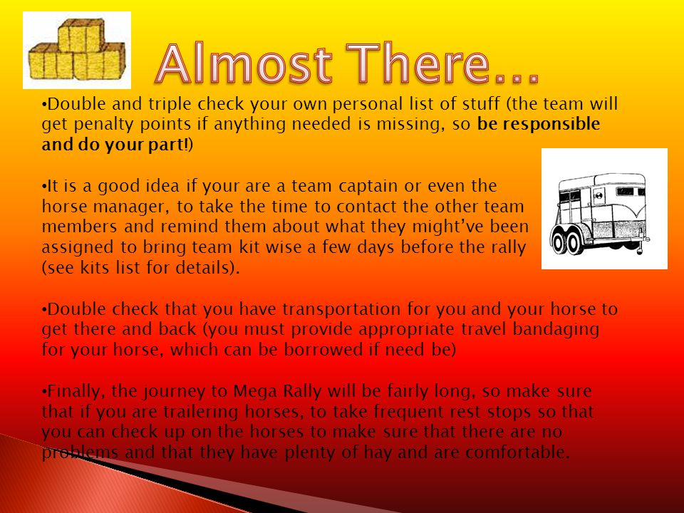 Double and triple check your own personal list of stuff (the team will get penalty points if anything needed is missing, so be responsible and do your part!) It is a good idea if your are a team captain or even the horse manager, to take the time to contact the other team members and remind them about what they might've been assigned to bring team kit wise a few days before the rally (see kits list for details).