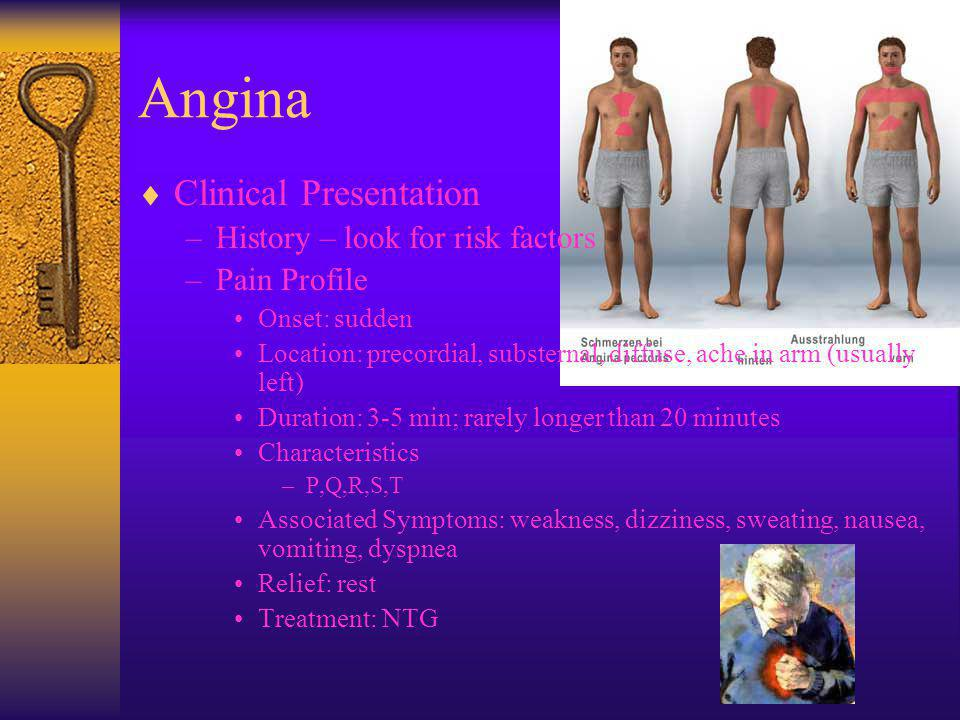 Angina  Clinical Presentation –History – look for risk factors –Pain Profile Onset: sudden Location: precordial, substernal, diffuse, ache in arm (us