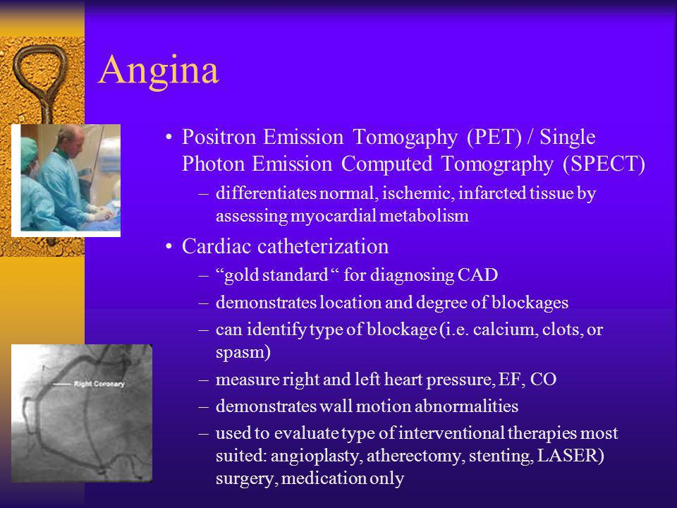 Angina Positron Emission Tomogaphy (PET) / Single Photon Emission Computed Tomography (SPECT) –differentiates normal, ischemic, infarcted tissue by as