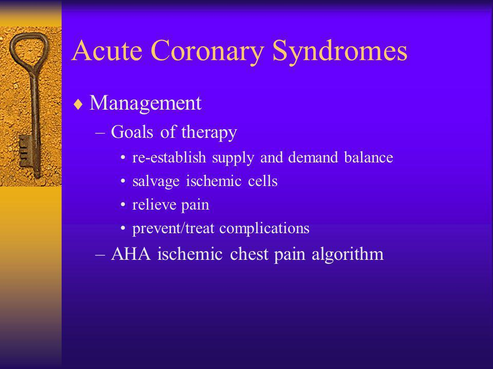 Acute Coronary Syndromes  Management –Goals of therapy re-establish supply and demand balance salvage ischemic cells relieve pain prevent/treat compl