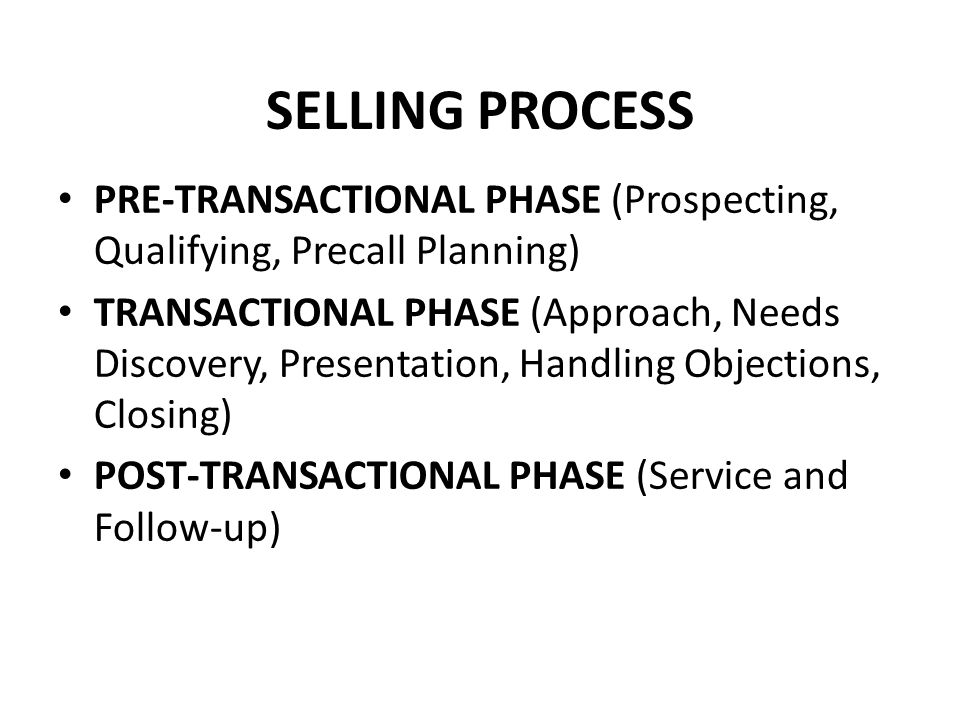 SELLING PROCESS PRE-TRANSACTIONAL PHASE (Prospecting, Qualifying, Precall Planning) TRANSACTIONAL PHASE (Approach, Needs Discovery, Presentation, Hand