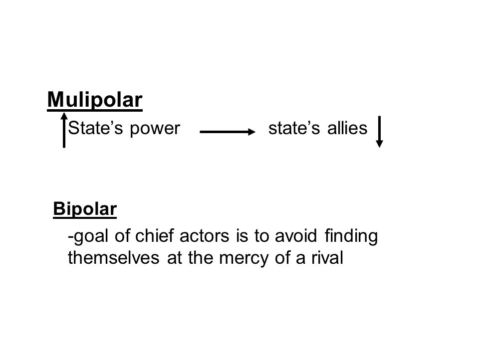 Mulipolar State's power state's allies Bipolar -goal of chief actors is to avoid finding themselves at the mercy of a rival