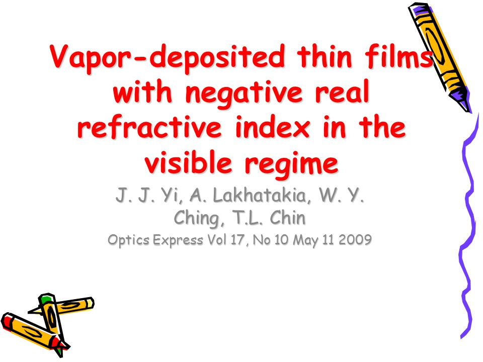 Vapor-deposited thin films with negative real refractive index in the visible regime J.