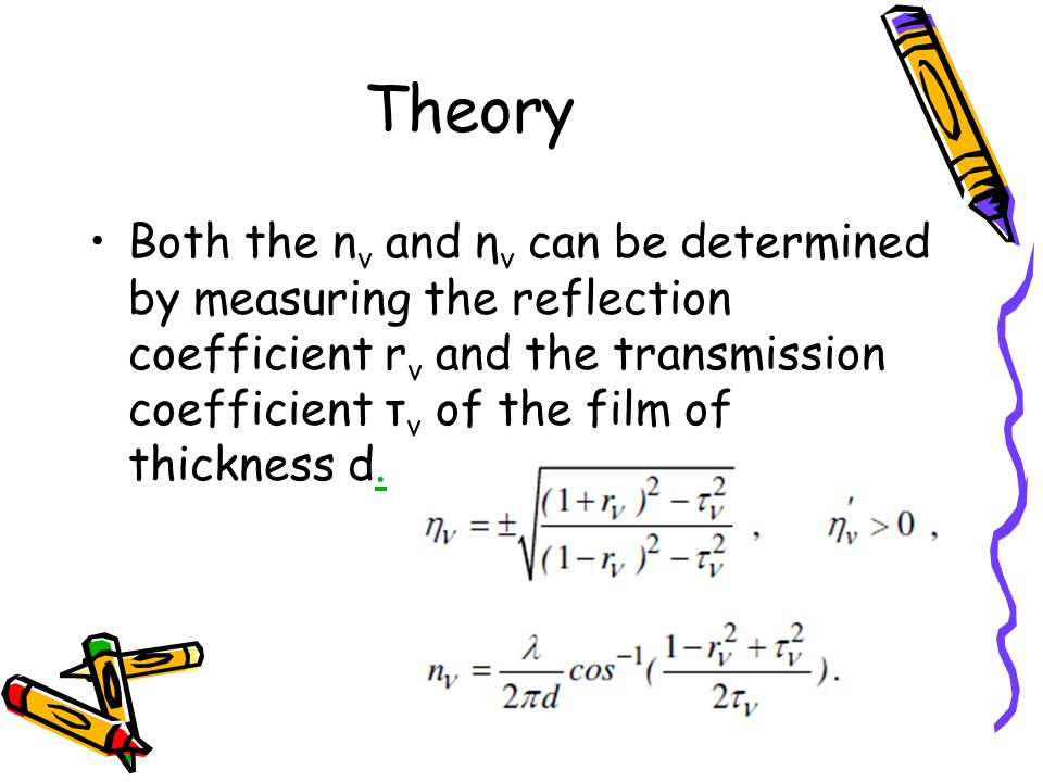 Theory Both the n v and η v can be determined by measuring the reflection coefficient r v and the transmission coefficient τ v of the film of thickness d..