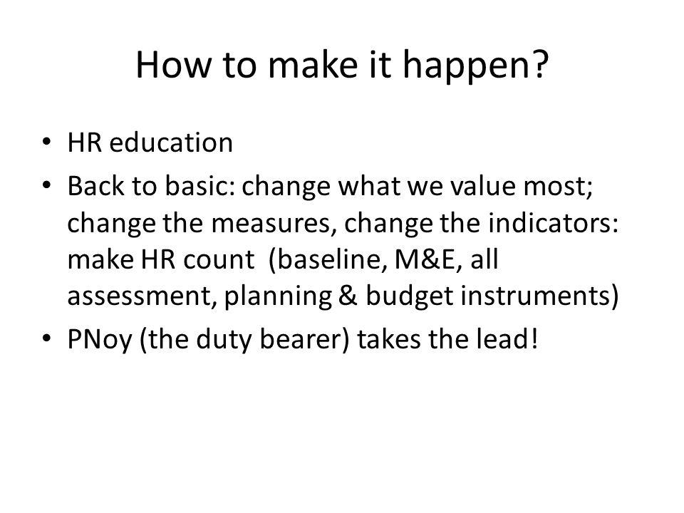 How to make it happen.