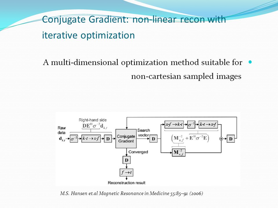 Conjugate Gradient: non-linear recon with iterative optimization A multi-dimensional optimization method suitable for non-cartesian sampled images M.S.